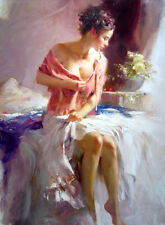 Oil painting portrait young girl on the bed awakenings in the morning canvas