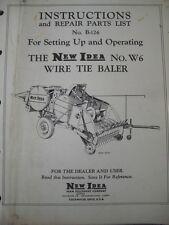 Original 1954? New Idea Number WG Wire Tie Baler Instructions & Part List B-126