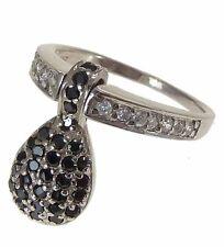 Ring mit beweglichen Tropfen Einhänger und klaren/schwarzen Zirkonia Silber 925