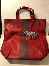 Brand New Women's Tote Bag SAKS FIFTH AVENUE Red Faux Leather Zebra