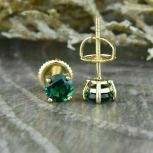 2 Ct Round Cut Emerald Solitaire Stud Earrings 14K Yellow Gold Over Screw Back