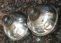 Set of 2 Chrome Plated Smudge Pot Highway Railroad Construction Road Torch Stork