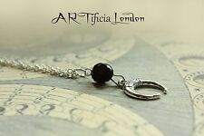 Crescent Moon Lunar Pendant Silver & Black Necklace Witch Occult Pagan Jewellery