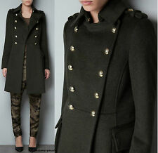 ZARA KHAKI MILITARY WOOLLEN COAT JACKET BLAZER GOLD BUTTONS SMALL S