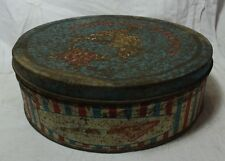 OLD VINTAGE UNIQUE ASSORTED BISCUITS ROUND TIN BOX COLLECTIBLE MADE IN PAKISTAN