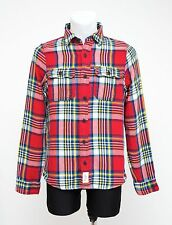 MEN ABERCROMBIE&FITCH LINED CASUAL SHIRT LONG SLEEVED RED CHECKED M MEDIUM EXC