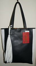 Carlos Santana Tote Bag Black & White Faux Leather Fringe Tassle $39.-NWT Free/S