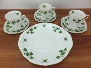 Vintage COLCLOUGH Green Ivy Leaf Tea Cup Trio Set with Cake Plate