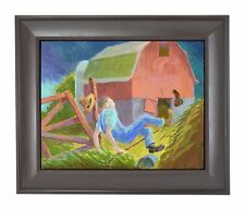 "Randall Berndt ""The Farmer and the Storm"" Painting on Board Wisconsin Artist"