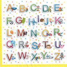 4 Single paper decoupage napkins. Colorful letters, alphabet design-129
