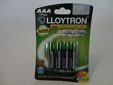 4 X Lloytron AAA 1100 mAh Rechargeable Ni-MH Batteries HIGH POWER,Phone,Remote