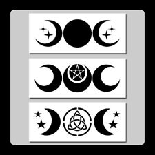 Set 3 Triple Moon STENCILS 3 X 7 each Wiccan/Pagan/Stars/Goddess/Crescent Moons