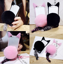 Luxury Cute Cat Ear Furry Fur Tail Ball Clear Phone Case Cover For iPhone 7 Plus