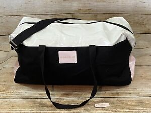 Victoria's Secret Overnight Weekender Duffel Bag Black White Pink New