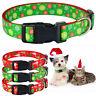 Small Medium Large Dog Christmas Dog Collar Pet Puppy Adjustable Nylon Red S-XL