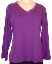 Oscar De La Renta L, large long sleeve purple velvet trim knit top v-neck shirt