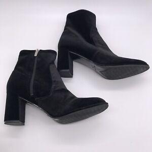 MARC FISHER Lizzy Black Velvet Booties Size 9 Ankle Boots Block Heel *EUC*