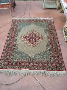 VINTAGE 4'x6' Hand Knotted  Design Chinese All Silk Rug Blue Carpet