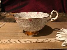 Old Royal Gray/Pink Floral Gold Trim Tea Cup Bone China England