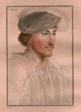 Antique Portrait Print-LORD CLINTON-Facius-Holbein-1828