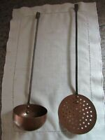 VINTAGE LOT COPPER & BRASS LADLE & COLANDER STRAINER SPOON ANTIQUE