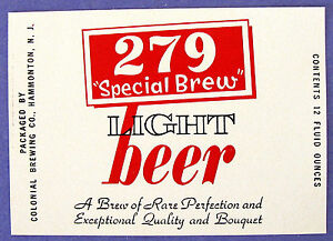 279 SPECIAL BREW by Colonial LIGHT BEER label NJ 12oz Textured