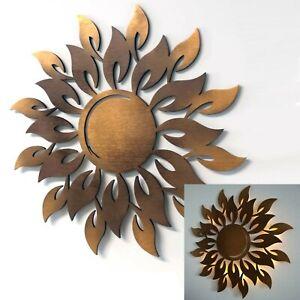 Wanddeko Holz Sonne Strahlen 3D Wandbild Innen Außen Garten Geschenk Wand Deko