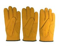 ***New***  (3) Mens All Cabretta Gold / Yellow Leather Golf Gloves (Left Hand)