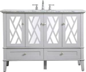BATHROOM VANITY SINK CHEST CONTEMPORARY SINGLE BRUSHED NICKEL CLEAR GRAY B