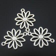37597 Antiqued Silver Vintage Alloy Flower Hollow Connector Pendant Charm 70pcs