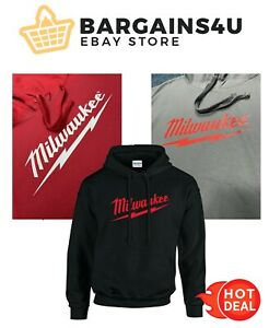Milwaukee Black / Red Logo Hoodie Hoody Sizes S - 7XL Power Tool Work Wear New