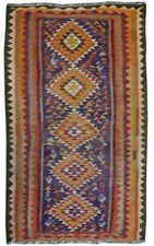 Handmade Antique Unique Geometric Vintage Blue Wool Kilim Rug