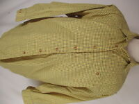 Orvis Mens Yellow Check Long Sleeve Cotton Shirt L