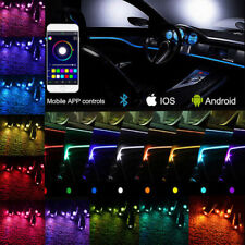 6x RGB LED Car Interior EL Neon Strip Light Sound Active Bluetooth Phone Control