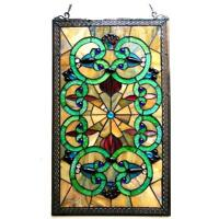 "Stained Glass Chloe Lighting Victorian Window Panel CH1P143AV28-GPN 17 X 28"" New"