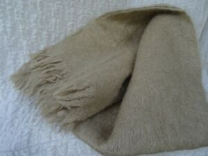 St Albans Fawn Mohair Throw Rug Afghan Blanket