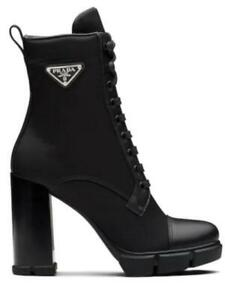 Prada Black Leather and Nylon Fabric Boots, Size 39, New with box!!!