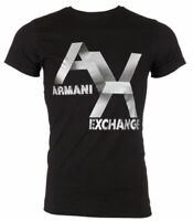 Armani Exchange AX LOGO Mens Designer T-SHIRT Premium BLACK Slim Fit $45 NWT