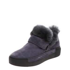 VIC MATIE Leather Sneakers Boots EU37 UK4 US7 Rabbit Fur Shearling Made in Italy