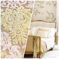 Novelty Italian Burnout Damask Chenille Upholstery Velvet Fabric -Yellow Cream