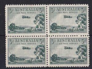 APD489) Australia 1929 3d Green airmail type A BW 134, block of 4 MUH, Cat $80,