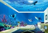 3D Whale Shark Underwater Ceiling Entire Living Room Bathroom Wallpaper Wall Mur