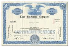 King Resources Company Stock Certificate (Denver, Colorado)