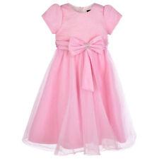 Robes roses décontractées à manches courtes pour fille de 2 à 16 ans