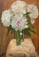 Print of Original oil painting art Vase peonies Impressionism shabby chic decor