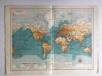 Map Of The World Commercial Chart Antique 1910 John Bartholomew & Co