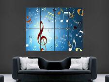 NOTE MUSICALI POSTER Treble Clef CHIAVI Wall Art immagine di grandi dimensioni