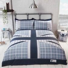 COOL BRITANNIA DOUBLE DUVET COVER SET UK ENGLAND BRITISH BEDDING BLUE