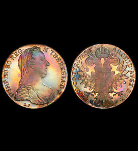 "PR65 ""1780"" Austria Thaler Restrike Silver Proof, PCGS Secure- Rainbow Toned"