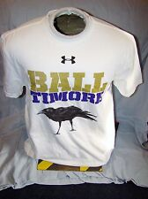 NWT UNDER ARMOUR BALTIMORE MARYLAND RAVEN M/I/C/A CHARGED COTTON SHIRT SMALL !!!